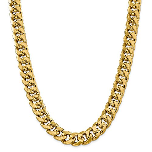 14K Yellow Gold 15mm Semi-Solid Miami Cuban Chain