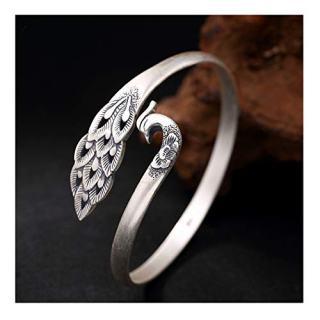 Whiteswallow Women's Bangle Sterling Silver Phoenix Bracelet Jewelry