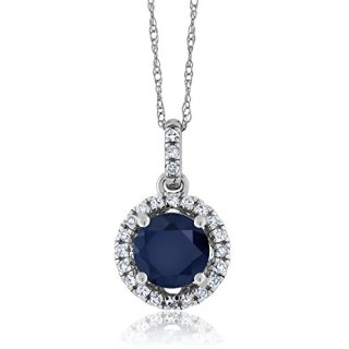 Gem Stone King Blue Sapphire and Diamond 14K White Gold Pendant Necklace