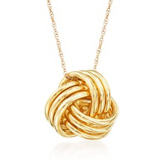 Ross-Simons 14kt Yellow Gold Love Knot Pendant Necklace