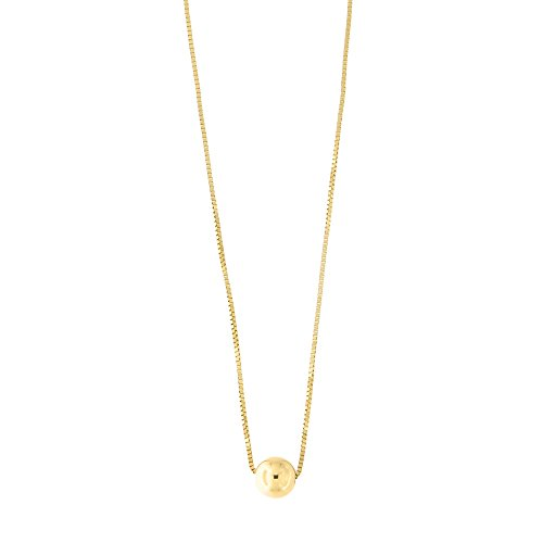 14k Yellow Gold Box Chain 5mm Polished Ball Bead Pendant Necklace