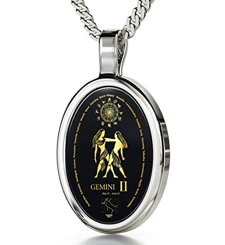Nano Jewelry 14k White Gold Zodiac Pendant Gemini Necklace