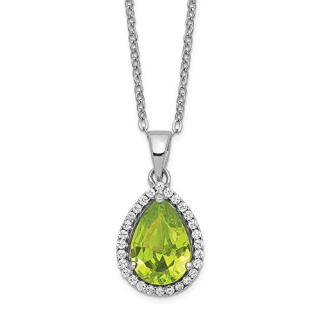 Sterling Silver Simulated Green Peridot Cubic Zirconia Cz Chain Necklace Set