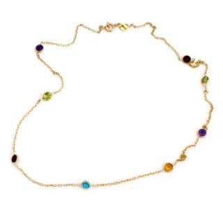 14k Yellow Gold Bezel Set Natural Gemstones Station Necklace