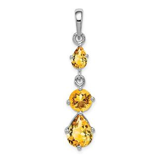 Sterling Silver Yellow Citrine Pendant Charm Necklace