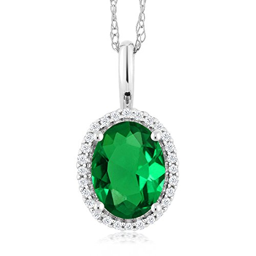 Gem Stone King 10K White Gold 1.00 Ct Oval Simulated Emerald