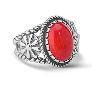 American West Sterling Silver Red Coral Gemstone Ring