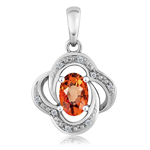 Gem Stone King 0.55 Ct Oval Orange Sapphire Diamond