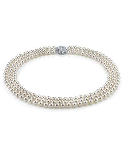 THE PEARL SOURCE 14K Gold 5-6mm AAAA Quality Triple Strand White