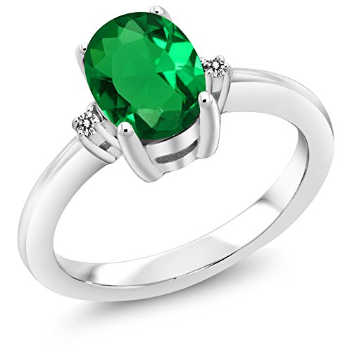 Gem Stone King 1.18 Ct Oval Green Nano Emerald White Diamond