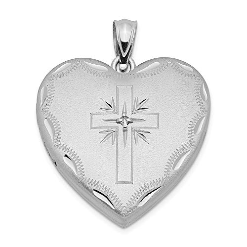 Sterling Silver 24mm Diamond Cross Religious Design Family Heart Locke