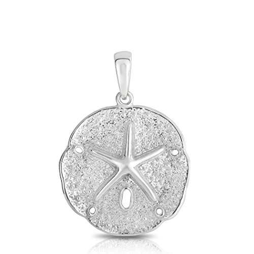 Sterling Silver Solid Two Sides Large Size Sand Dollar Starfish Charm