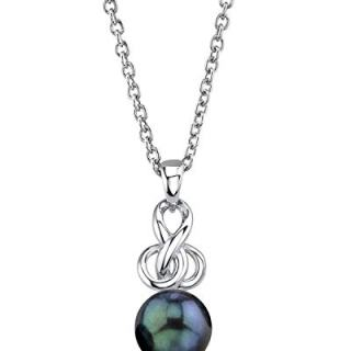 THE PEARL SOURCE Sterling Silver 7.5-8mm Round Black Akoya Cultured Pearl