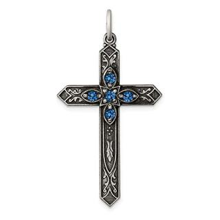 Sterling Silver December Birthstone Cross Religious Pendant Charm Necklace