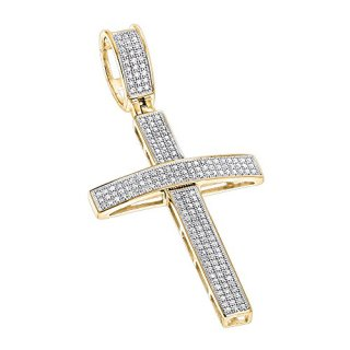 Luxurman 10K Round Pave Set Natural 0.5 Ctw Diamond Cross Pendant