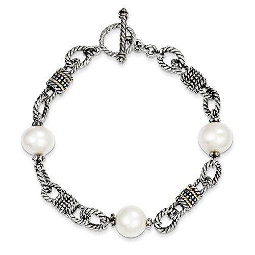 925 Sterling Silver 14k Freshwater Cultured Pearl Bracelet 7.5 Inch