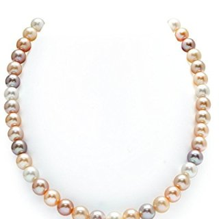 THE PEARL SOURCE 14K Gold 8-9mm AAA Quality Multicolor Freshwater