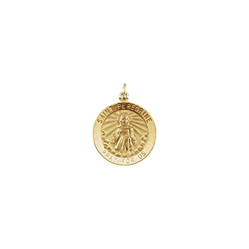 Jewels By Lux 14K Yellow Gold 25mm Round St. Peregrine Medal