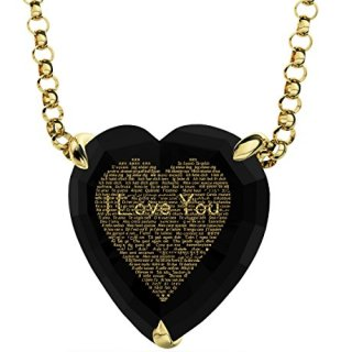 Nano Jewelry Gold Plated Heart Necklace I Love You Pendant