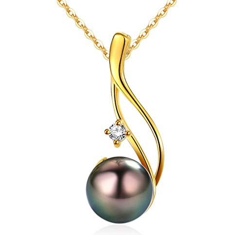 CHAULRI Authentic South Sea Tahitian Black Pearl Pendant Necklace