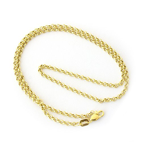 Beauniq 14k Yellow Gold 2.4mm Round Rolo Chain Necklace