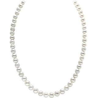 THE PEARL SOURCE 14K Gold 7-8mm AAA Quality White Freshwater