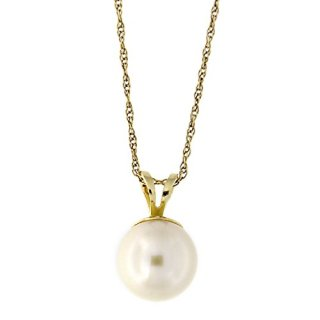 Beauniq 14k Solid Yellow Gold 8.0-8.5mm Freshwater Cultured Pearl Pendant