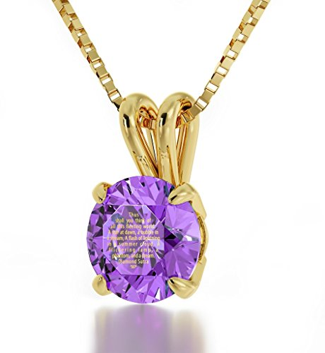 Nano Jewelry Gold Plated Buddhist Necklace Inscribed