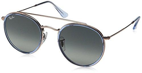 Ray-Ban Round Double Bridge Sunglasses, Blue on Copper/Grey Gradient