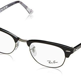 Ray-Ban Clubmaster Square Eyeglass Frames, Black on Texture Grey/Demo Lens