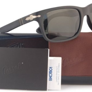 Persol Polarized Sunglasses Matte Black w/Crystal Grey