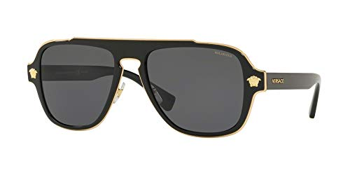 Versace Man Sunglasses, Black Lenses Metal Frame