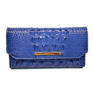 Brahmin Soft Checkbook Wallet Croco Emb Leather Iris Melbourne