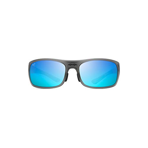 Maui Jim Big Wave | Polarized Translucent Matte Grey Wrap Frame Sunglasses