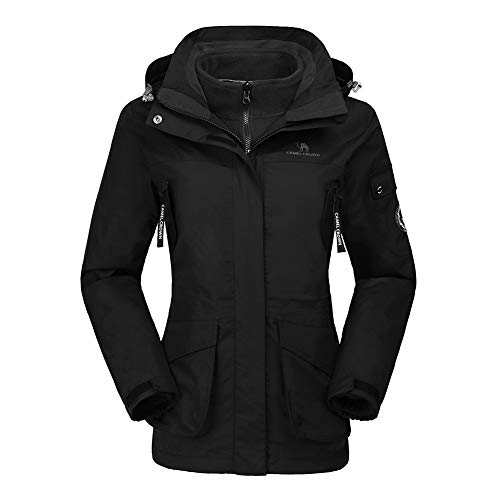 CAMEL CROWN Womens Waterproof Ski Jacket 3-in-1 Windbreaker Winter Coat Fleece Inner for Rain Snow Outdoor Hiking