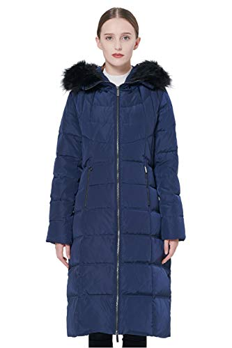 Orolay Women's Thickened Puffer Down Jacket Winter Hooded Coat Navy 2XL