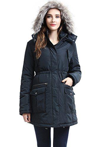 Momo Maternity Outerwear Women's Parker Hooded Puffer Parka Coat Pregnancy Winter Jacket Steel Gray Small