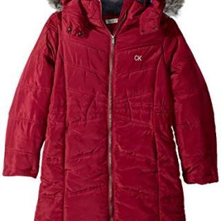 Calvin Klein Big Girls' Long Puffer Jacket, red Berry