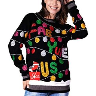 Women's Christmas Sweater Ugly Pullover Funny Santa Glitter Lights