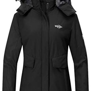 Wantdo Women's Waterproof Ski Jacket Cotton Padded Raincoat Windbreaker Black S
