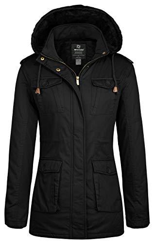 Wantdo Women's Vintage Warm Winter Overcoat with Removable Hood (Black,M)