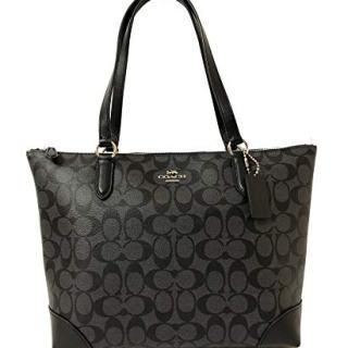 Coach Signature Zip Tote Shoulder Handbag (SV/Smoke PVC)