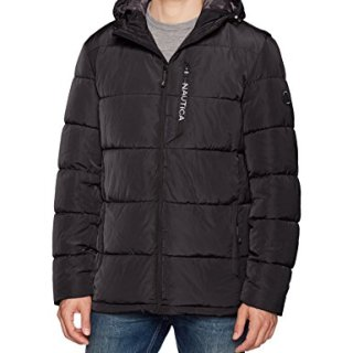 Nautica Men's Quilted Hooded Parka Jacket