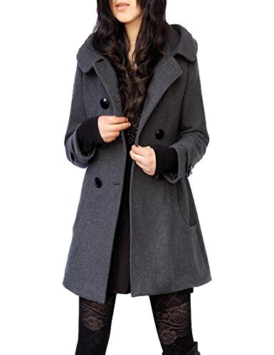 Tanming Women's Winter Double Breasted Wool Blend Long Pea Coat