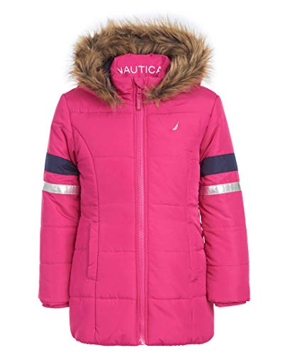 Nautica Little Girls Heavy Weight Long Length Jacket with Faux Fur Hood