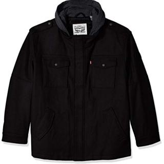 Levi's Men's Big and Tall Wool Blend Military Jacket with Hood