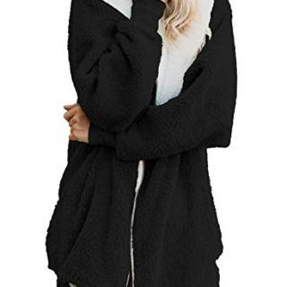 ReachMe Women's Oversized Full Zip Up Sherpa Hoodie Fleece Jacket