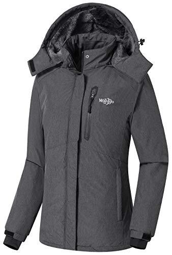 Wantdo Women's Hooded Waterproof Rain Jacket Snowboarding Jacket Grey