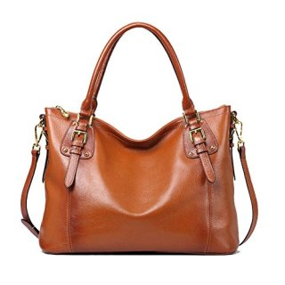 Kattee Women's Genuine Leather Handbags Shoulder Tote Organizer Top Handles Crossbody Bag Satchel Designer Purse Large Capacity (Sorrel)