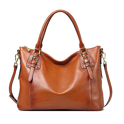 Kattee Women's Genuine Leather Handbags Shoulder Tote Organizer Top Handles Crossbody Bag Satchel Designer Purse Large Capacity (Sorrel)